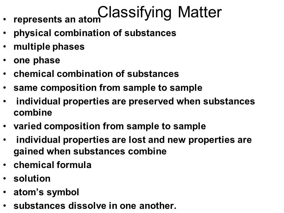 Classifying Matter represents an atom
