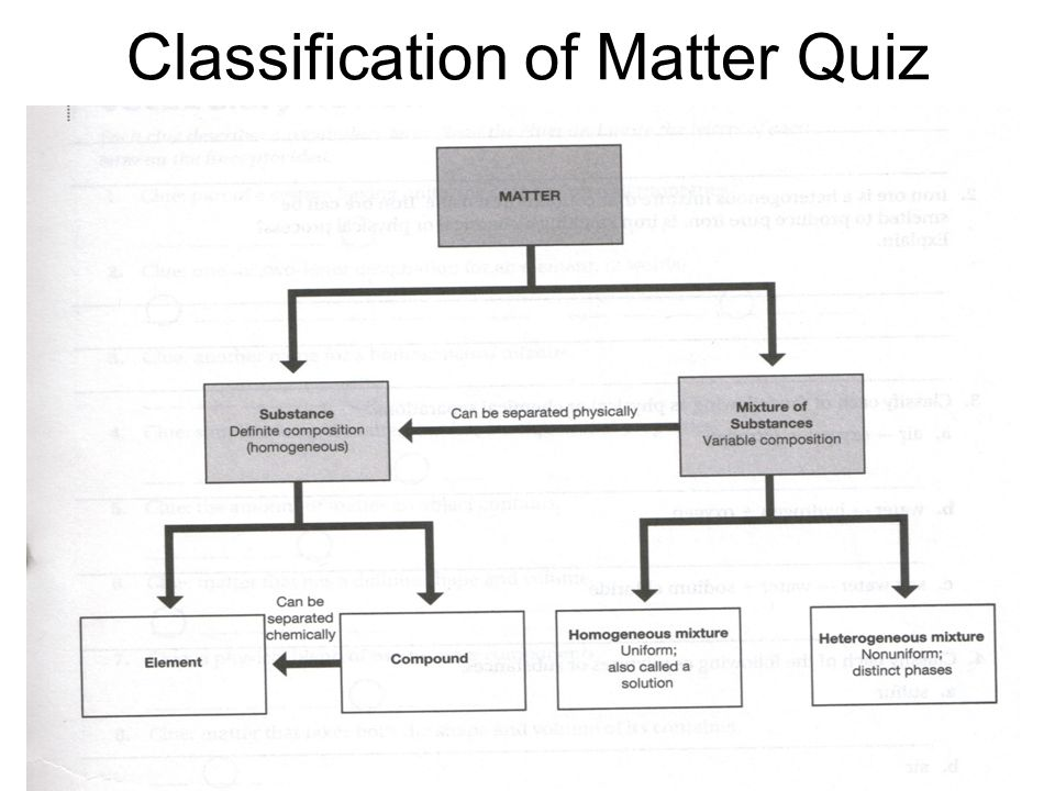 Classification of Matter Quiz