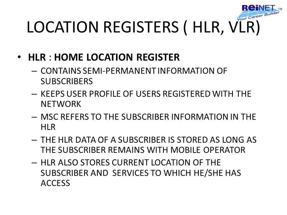 LOCATION REGISTERS ( HLR, VLR)