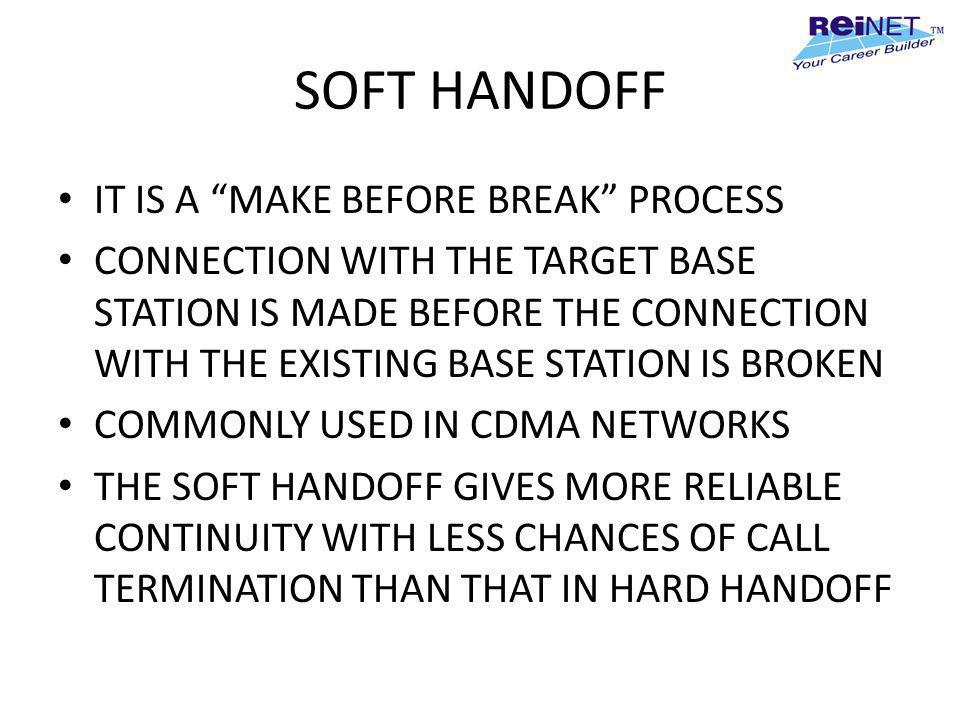 SOFT HANDOFF IT IS A MAKE BEFORE BREAK PROCESS