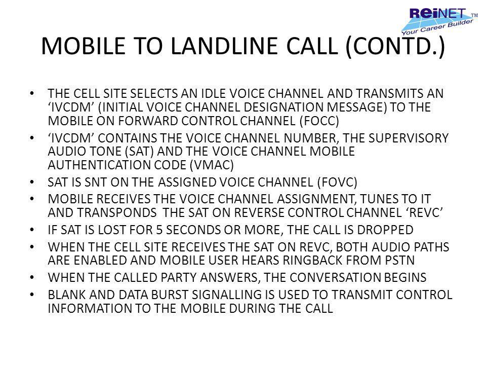 MOBILE TO LANDLINE CALL (CONTD.)