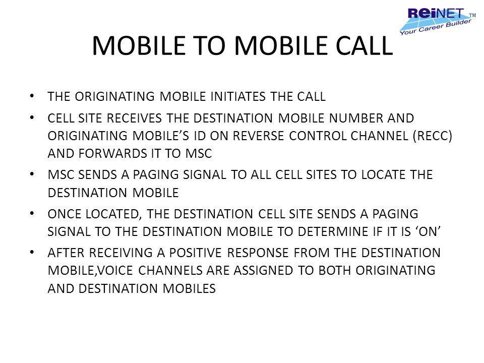 MOBILE TO MOBILE CALL THE ORIGINATING MOBILE INITIATES THE CALL