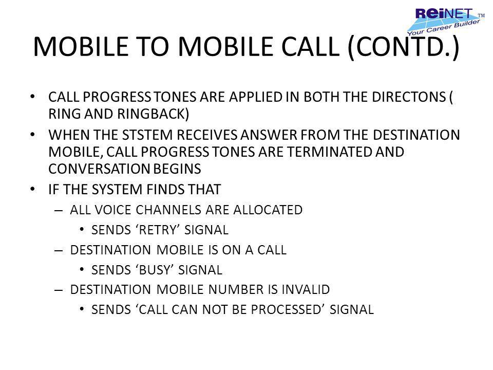 MOBILE TO MOBILE CALL (CONTD.)