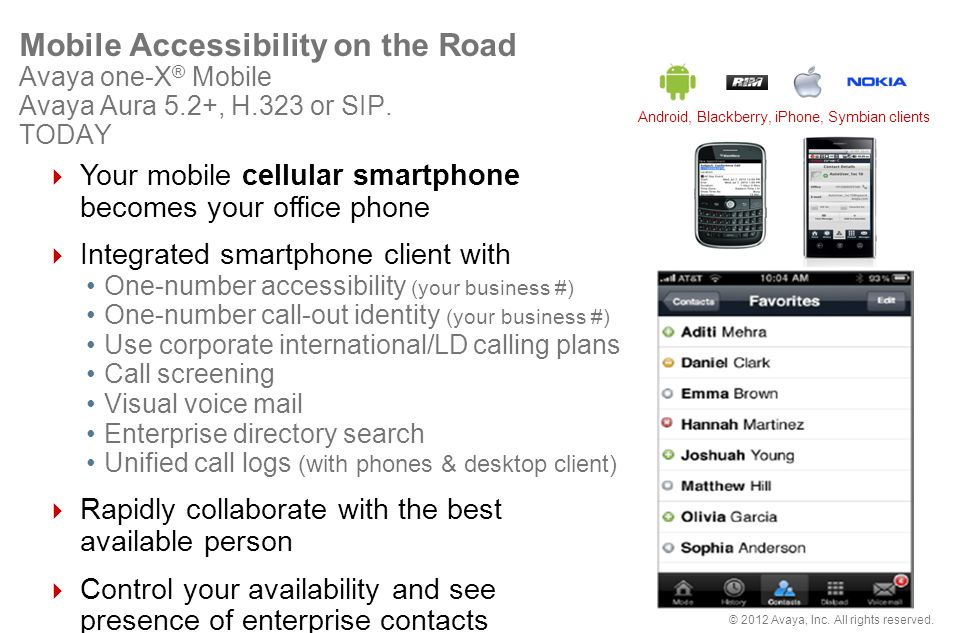 Mobile Accessibility on the Road Avaya one-X® Mobile Avaya Aura 5