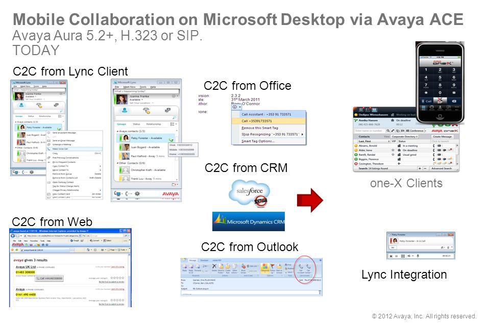 Mobile Collaboration on Microsoft Desktop via Avaya ACE Avaya Aura 5