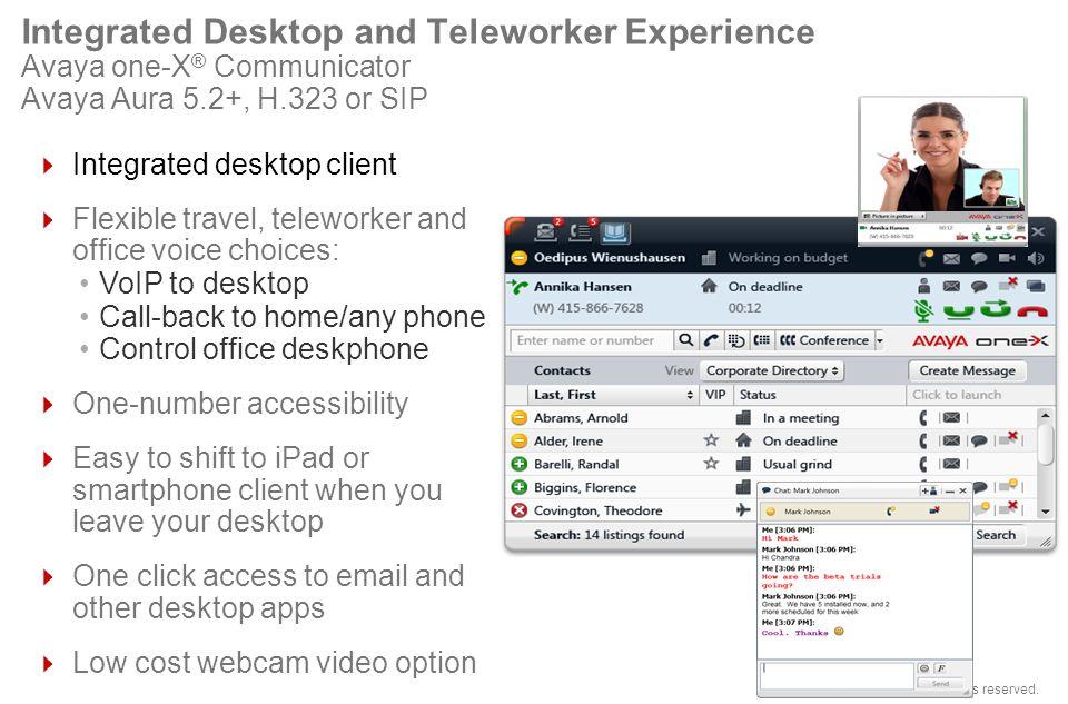 Integrated Desktop and Teleworker Experience Avaya one-X® Communicator Avaya Aura 5.2+, H.323 or SIP