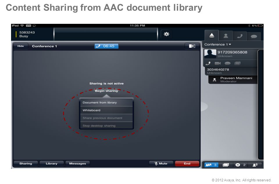 Content Sharing from AAC document library