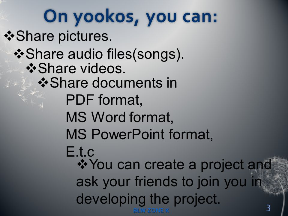 On yookos, you can: Share pictures. Share audio files(songs).