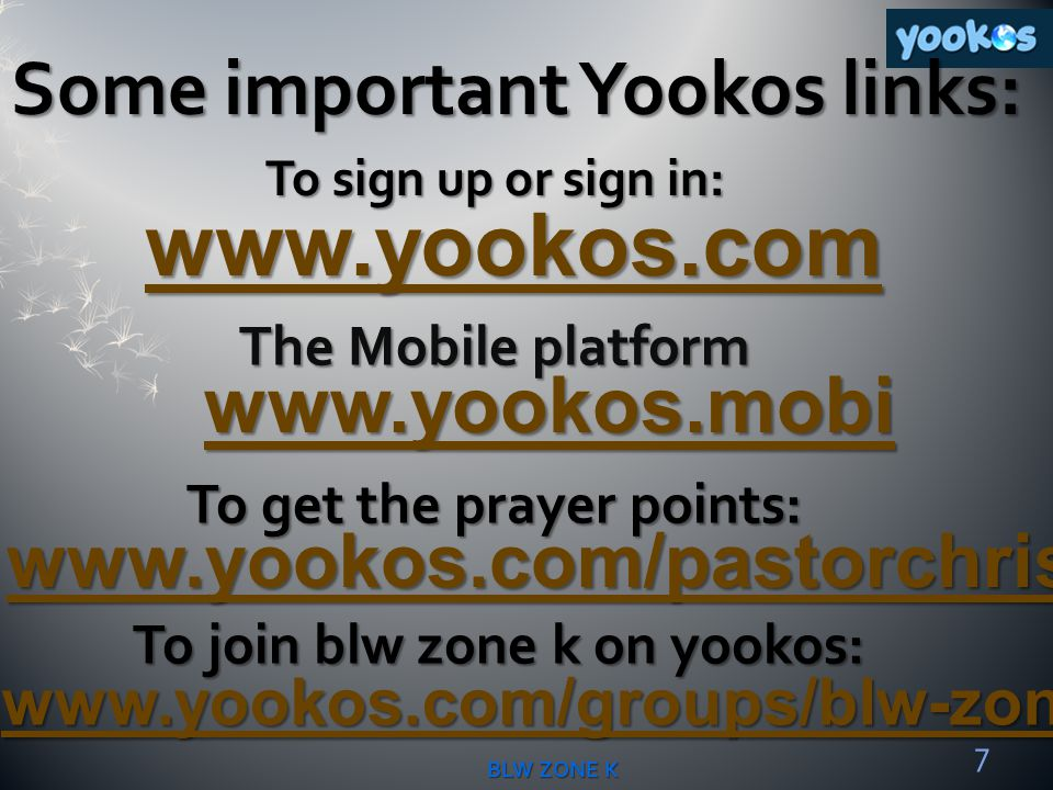 www.yookos.com Some important Yookos links: www.yookos.mobi