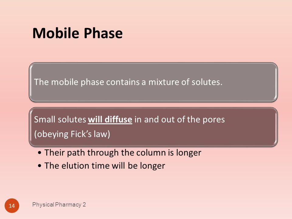 Mobile Phase The mobile phase contains a mixture of solutes.