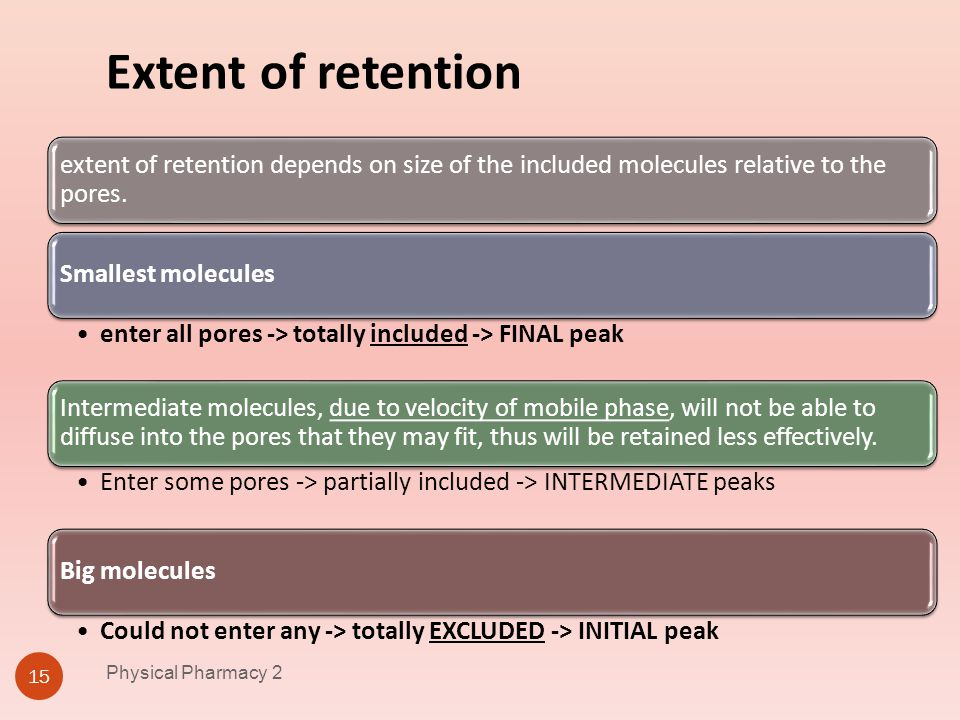 Physical Pharmacy 2 4/1/2017. Extent of retention. extent of retention depends on size of the included molecules relative to the pores.