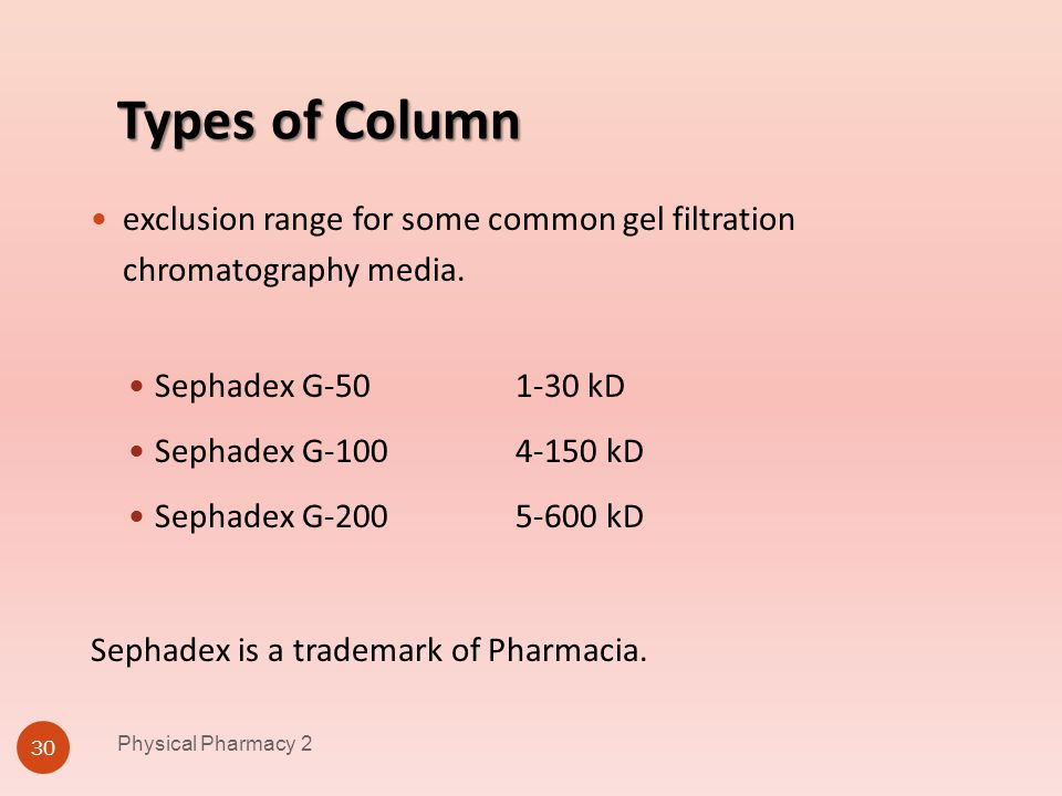 Physical Pharmacy 2 4/1/2017. Types of Column. exclusion range for some common gel filtration chromatography media.