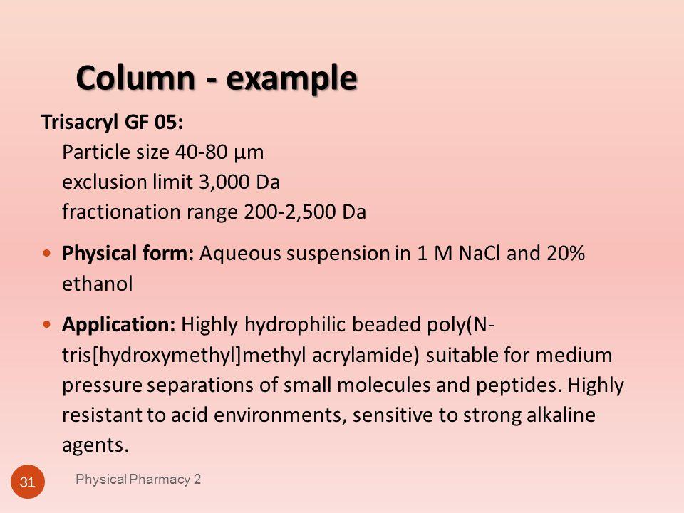 Physical Pharmacy 2 4/1/2017. Column - example.