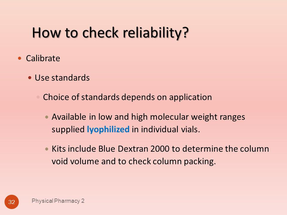 How to check reliability