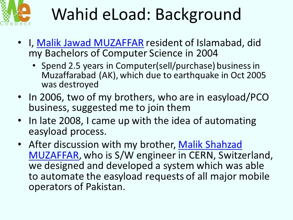 Wahid eLoad: Background