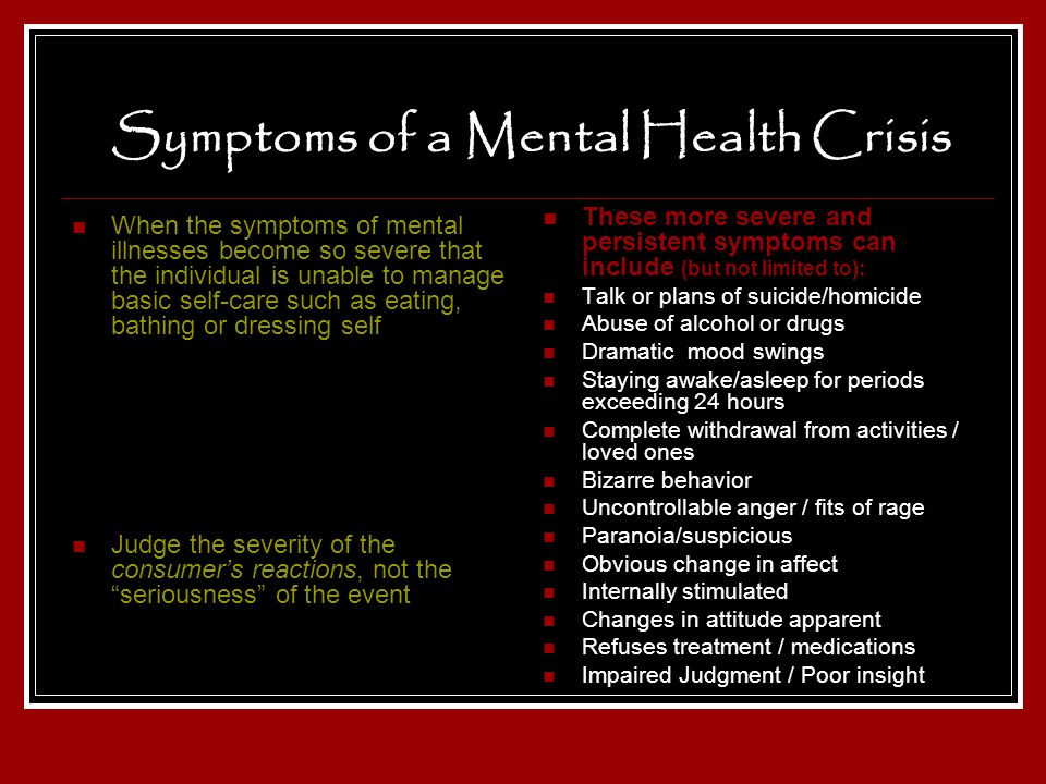 Symptoms of a Mental Health Crisis
