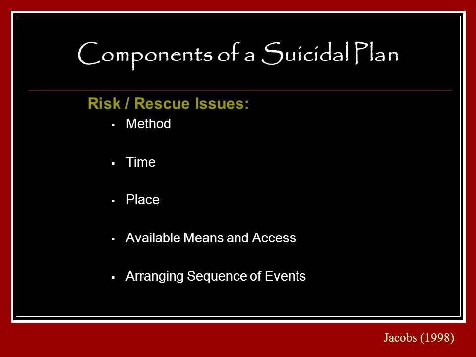 Components of a Suicidal Plan