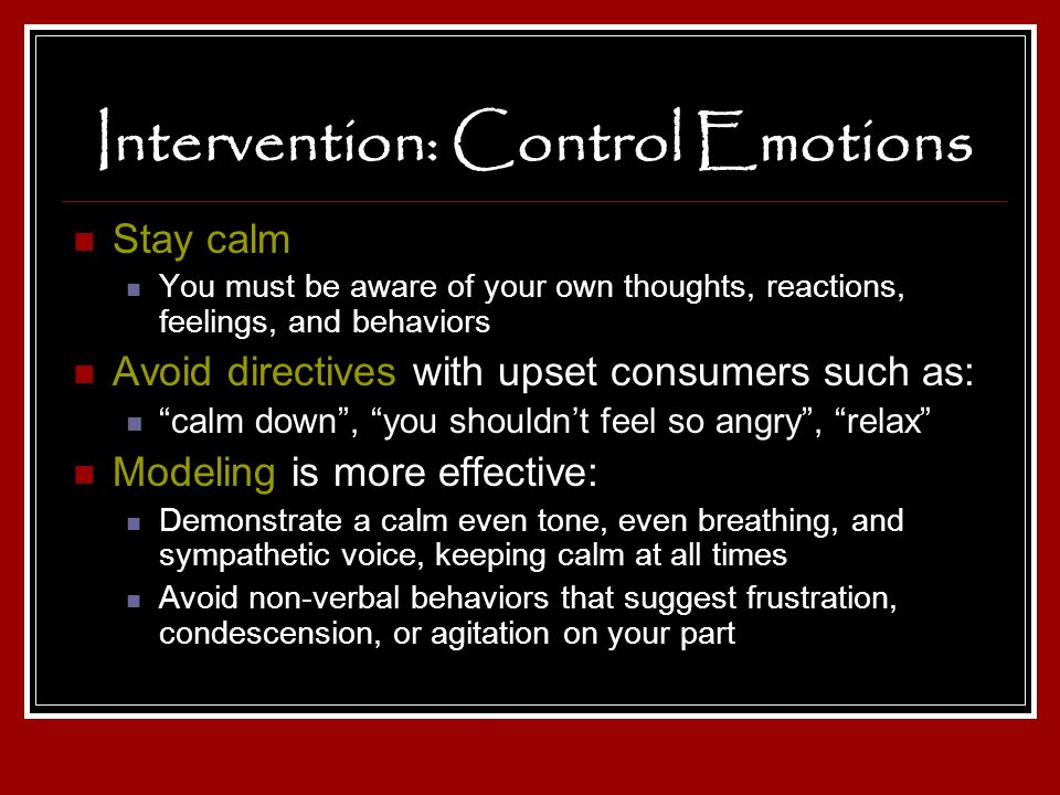 Intervention: Control Emotions