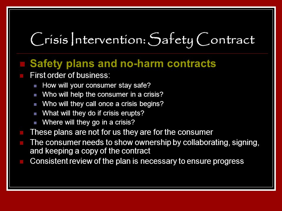 Crisis Intervention: Safety Contract