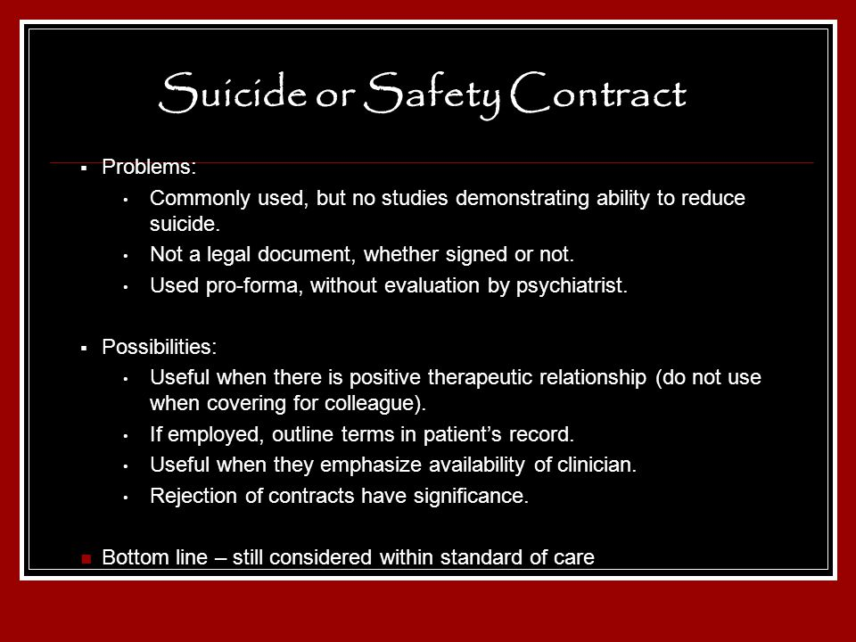 Suicide or Safety Contract