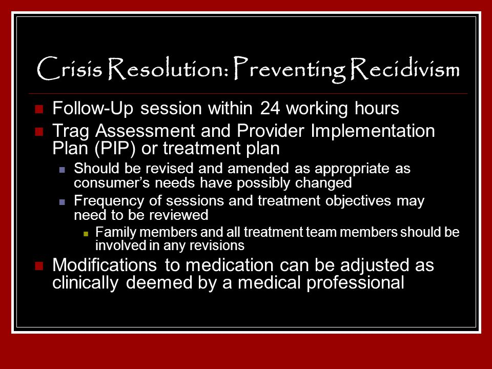 Crisis Resolution: Preventing Recidivism