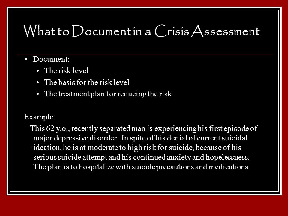 What to Document in a Crisis Assessment