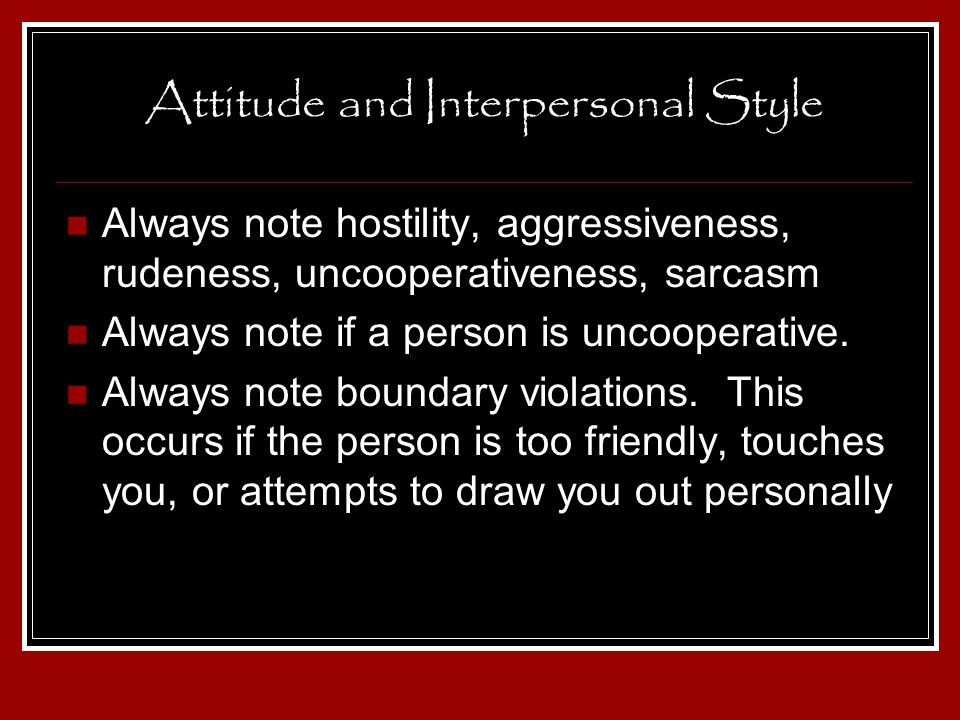 Attitude and Interpersonal Style