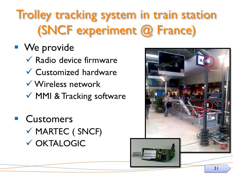 Trolley tracking system in train station (SNCF France)