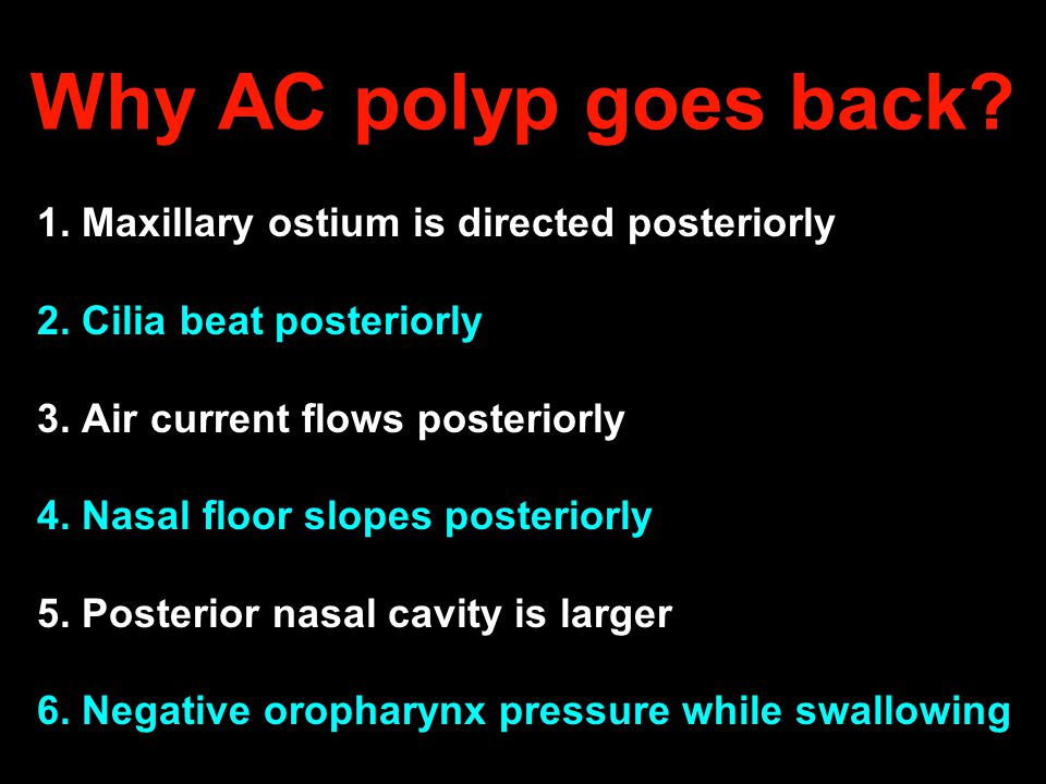 Why AC polyp goes back 1. Maxillary ostium is directed posteriorly