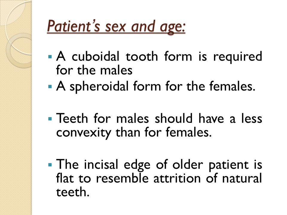 Patient's sex and age: A cuboidal tooth form is required for the males