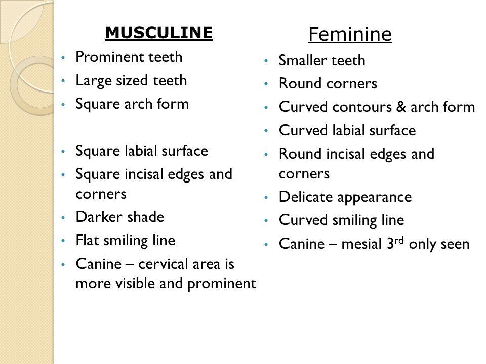 Feminine MUSCULINE Prominent teeth Smaller teeth Large sized teeth