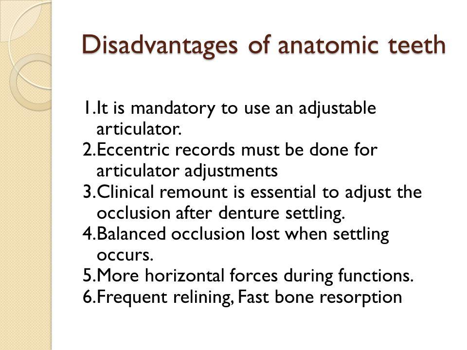 Disadvantages of anatomic teeth