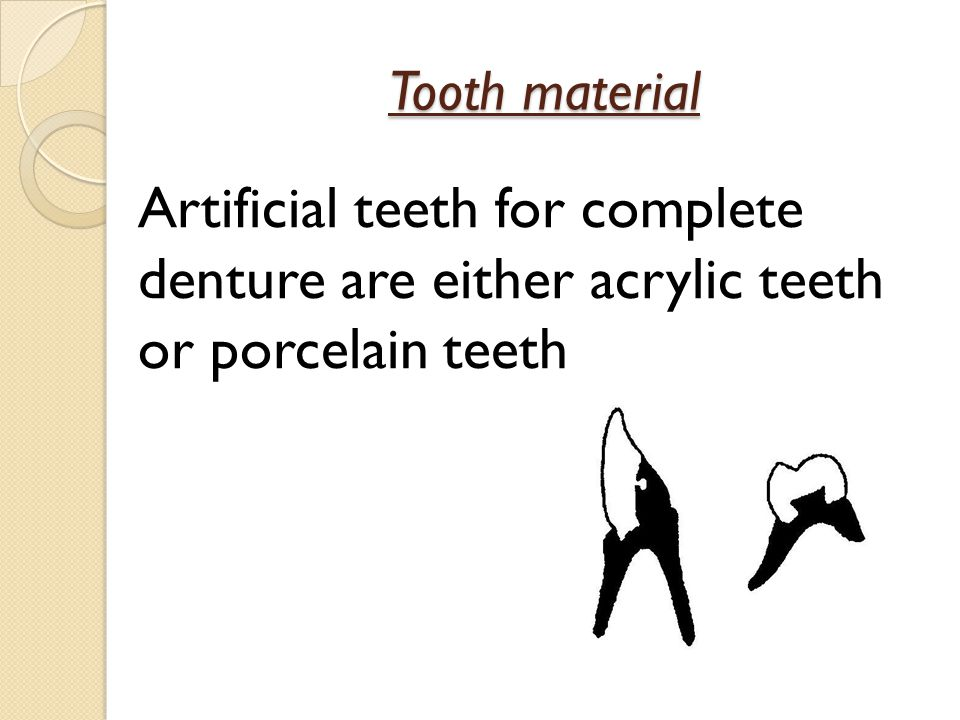 Tooth material Artificial teeth for complete denture are either acrylic teeth or porcelain teeth