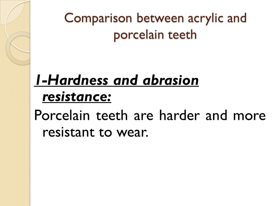 Comparison between acrylic and porcelain teeth