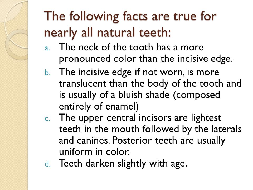 The following facts are true for nearly all natural teeth: