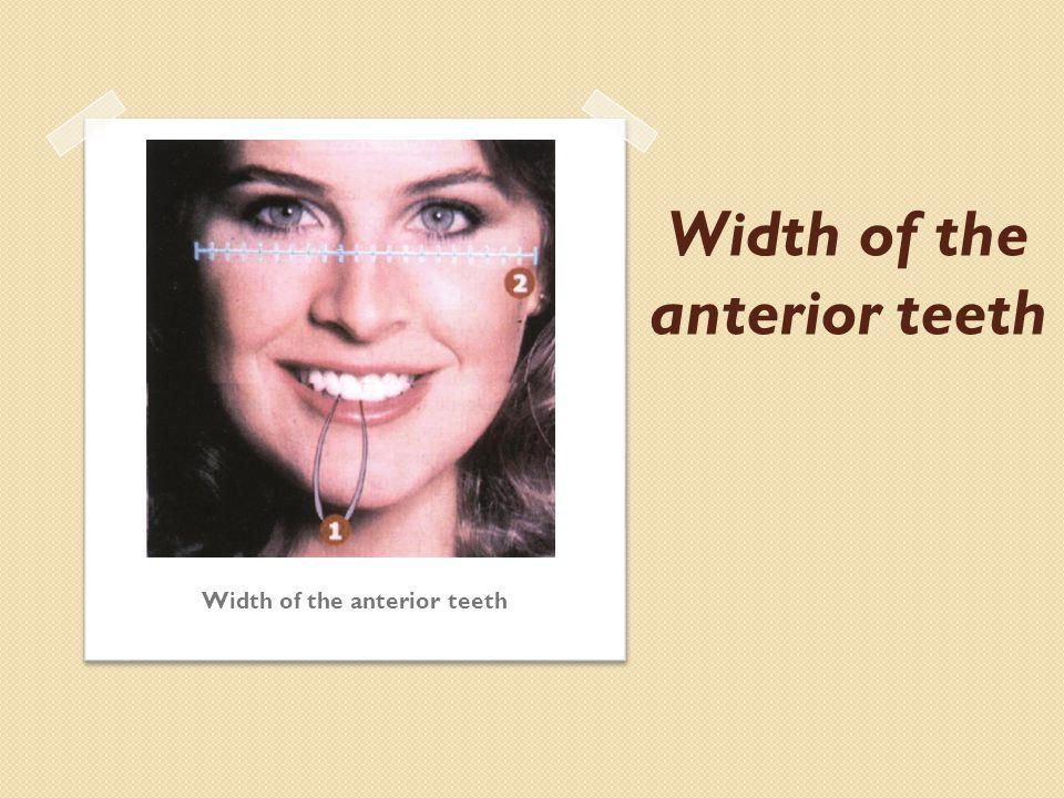 Width of the anterior teeth