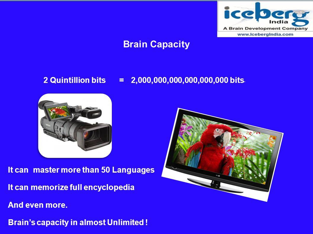 Brain Capacity 2 Quintillion bits = 2,000,000,000,000,000,000 bits