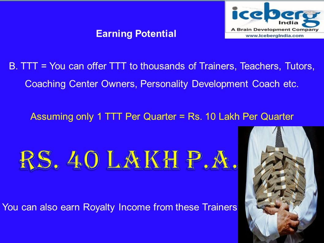 Assuming only 1 TTT Per Quarter = Rs. 10 Lakh Per Quarter