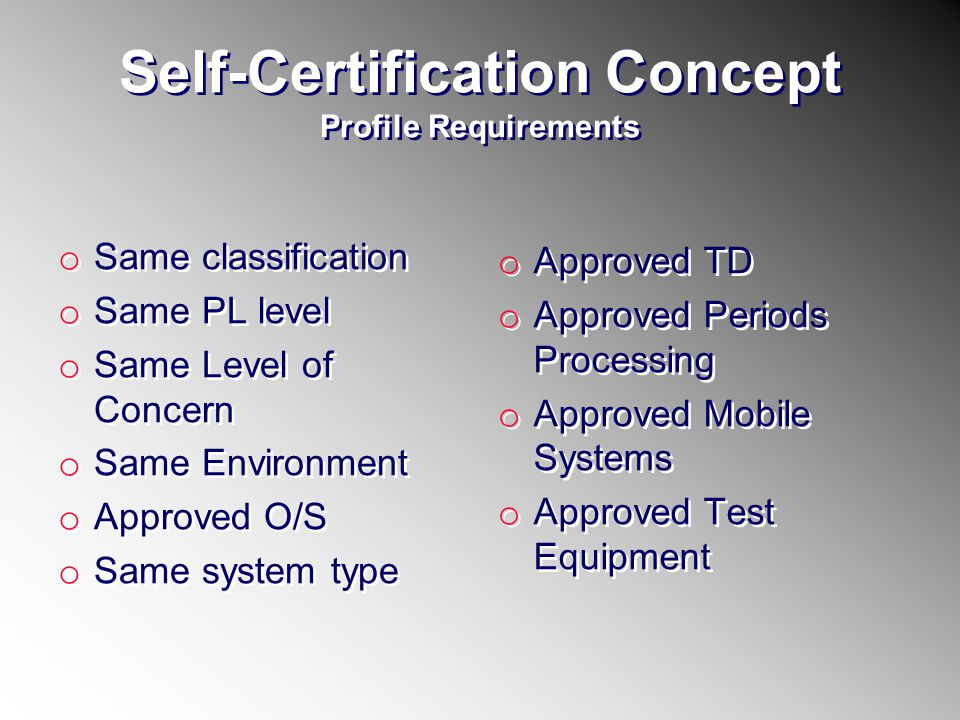Self-Certification Concept Profile Requirements