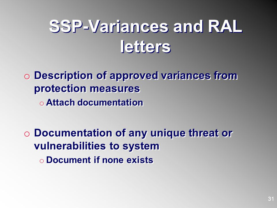 SSP-Variances and RAL letters