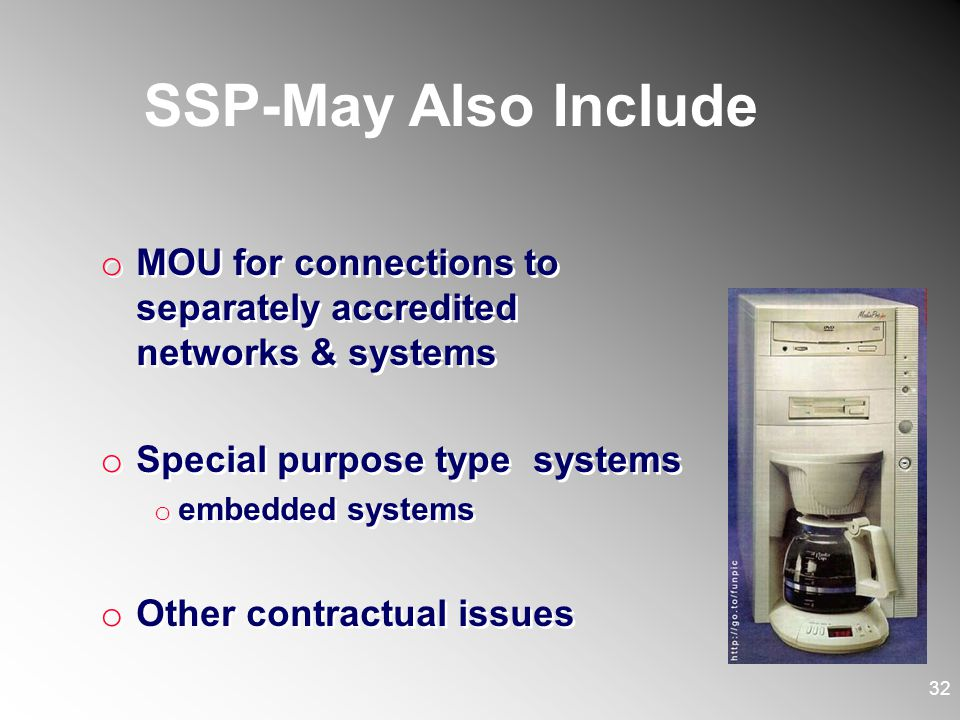 SSP-May Also Include MOU for connections to separately accredited networks & systems. Special purpose type systems.