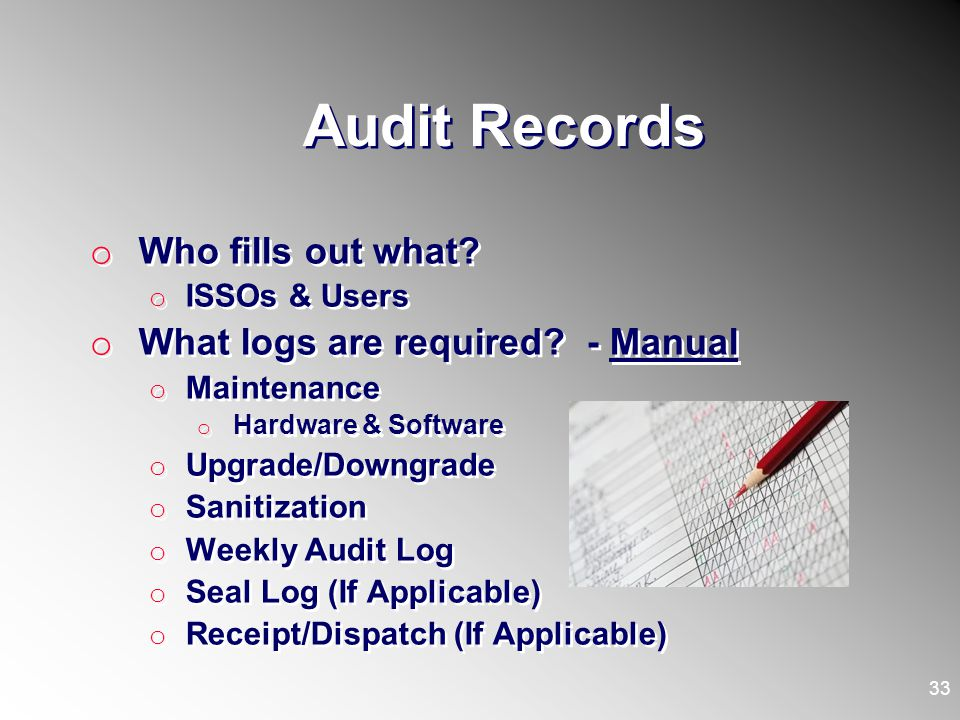 Audit Records Who fills out what What logs are required - Manual