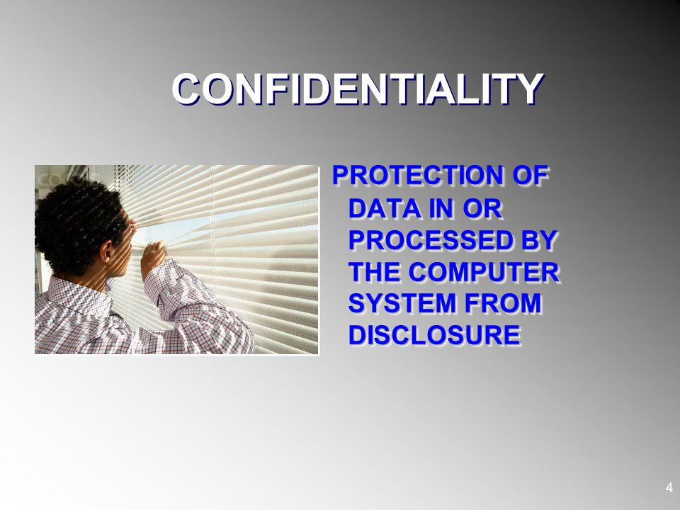 CONFIDENTIALITY PROTECTION OF DATA IN OR PROCESSED BY THE COMPUTER SYSTEM FROM DISCLOSURE