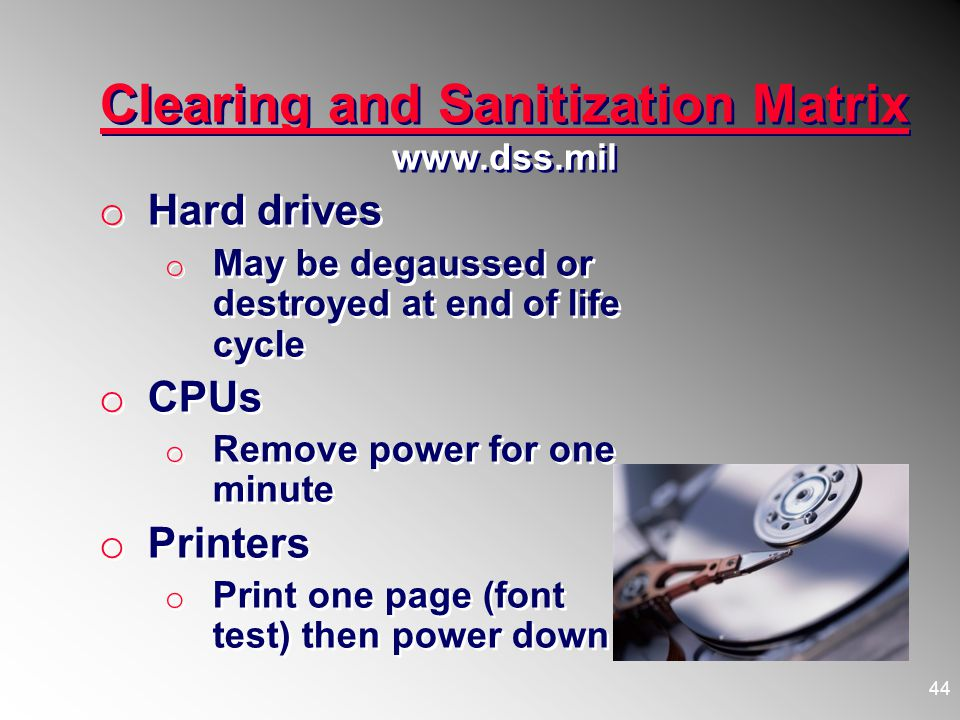 Clearing and Sanitization Matrix www.dss.mil