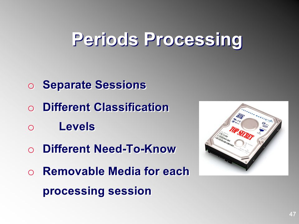 Periods Processing Separate Sessions Different Classification Levels