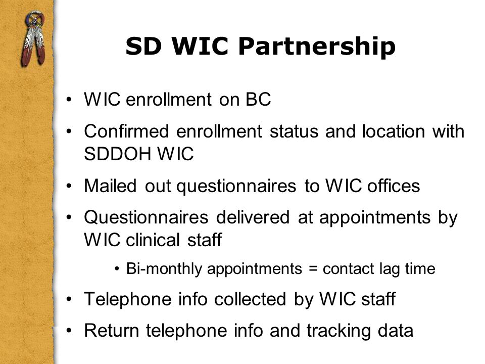 SD WIC Partnership WIC enrollment on BC