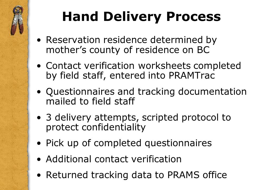 Hand Delivery Process Reservation residence determined by mother's county of residence on BC.