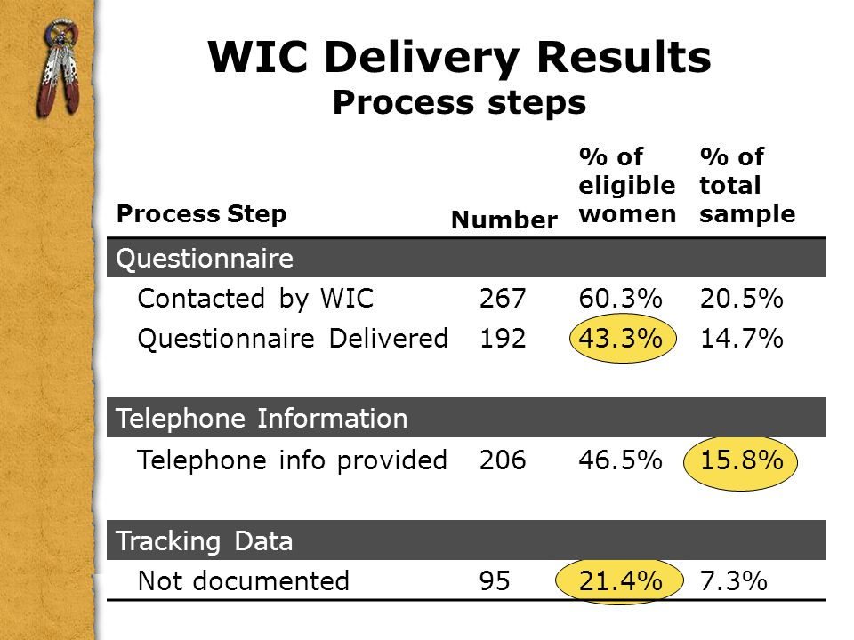 WIC Delivery Results Process steps