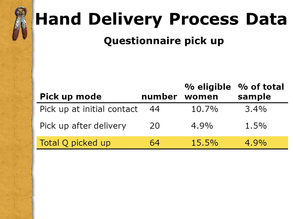 Hand Delivery Process Data Questionnaire pick up