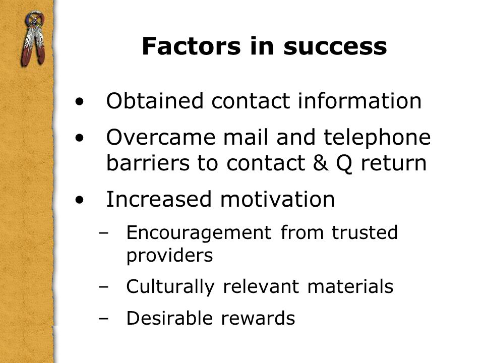 Factors in success Obtained contact information. Overcame mail and telephone barriers to contact & Q return.